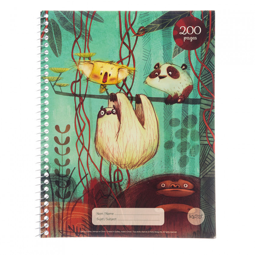 Cahier spirale   200 pages   Jungle