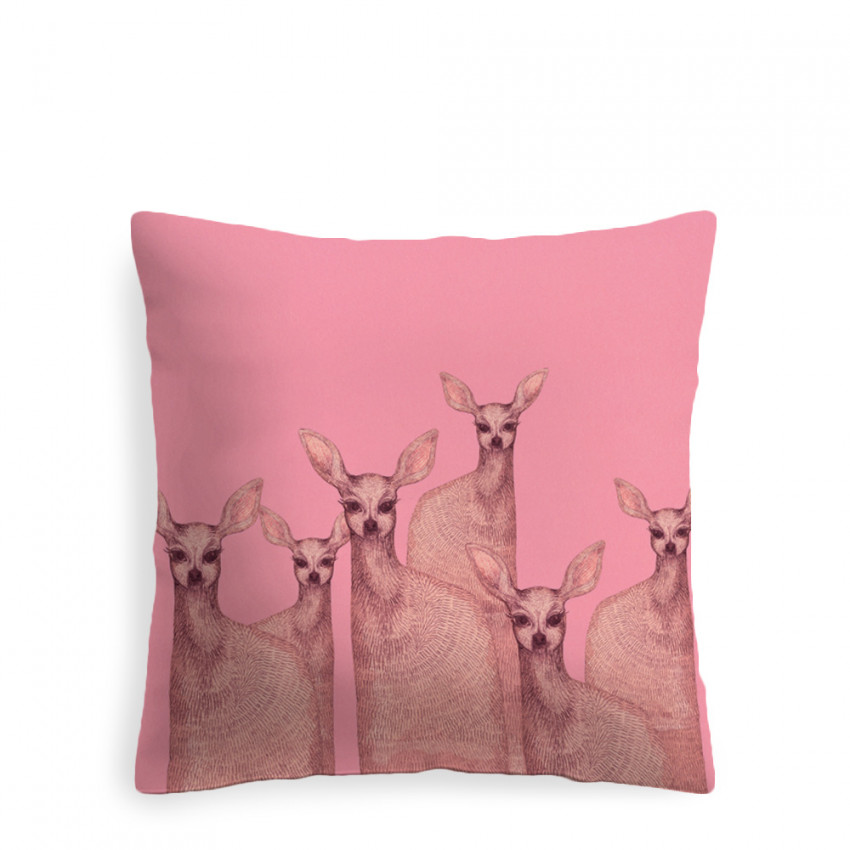Coussin   Biches roses