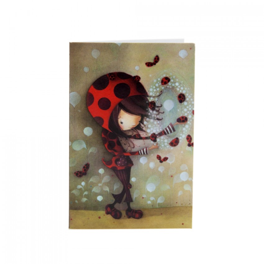 Mini-carte - Fille coccinelle
