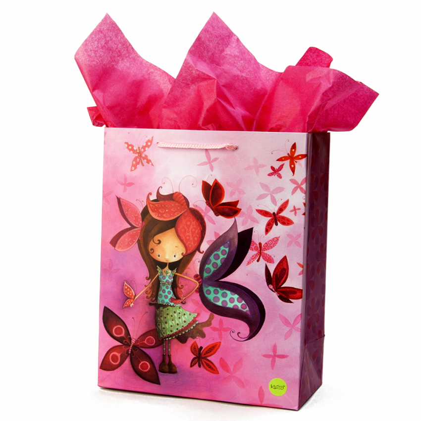 Grand sac cadeau Fille papillon