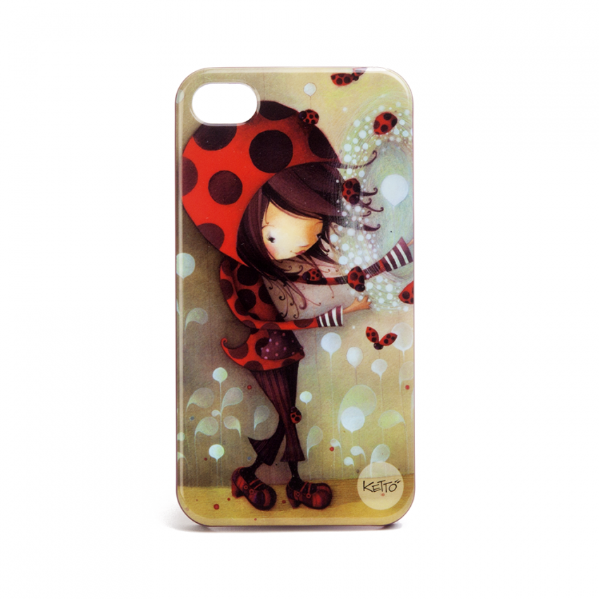 Coque à Iphone 4 Fille coccinelle