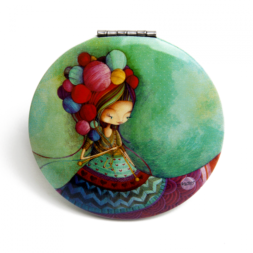 Pocket mirror Knitting lady
