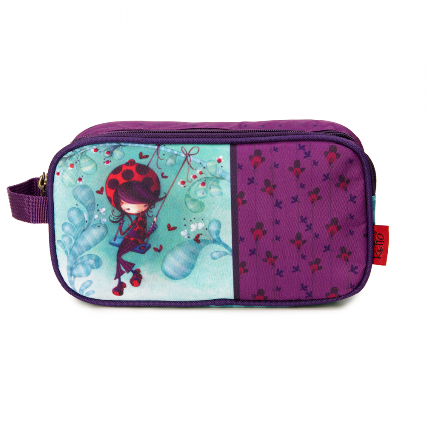 Double pencil case Ladybug on a swing