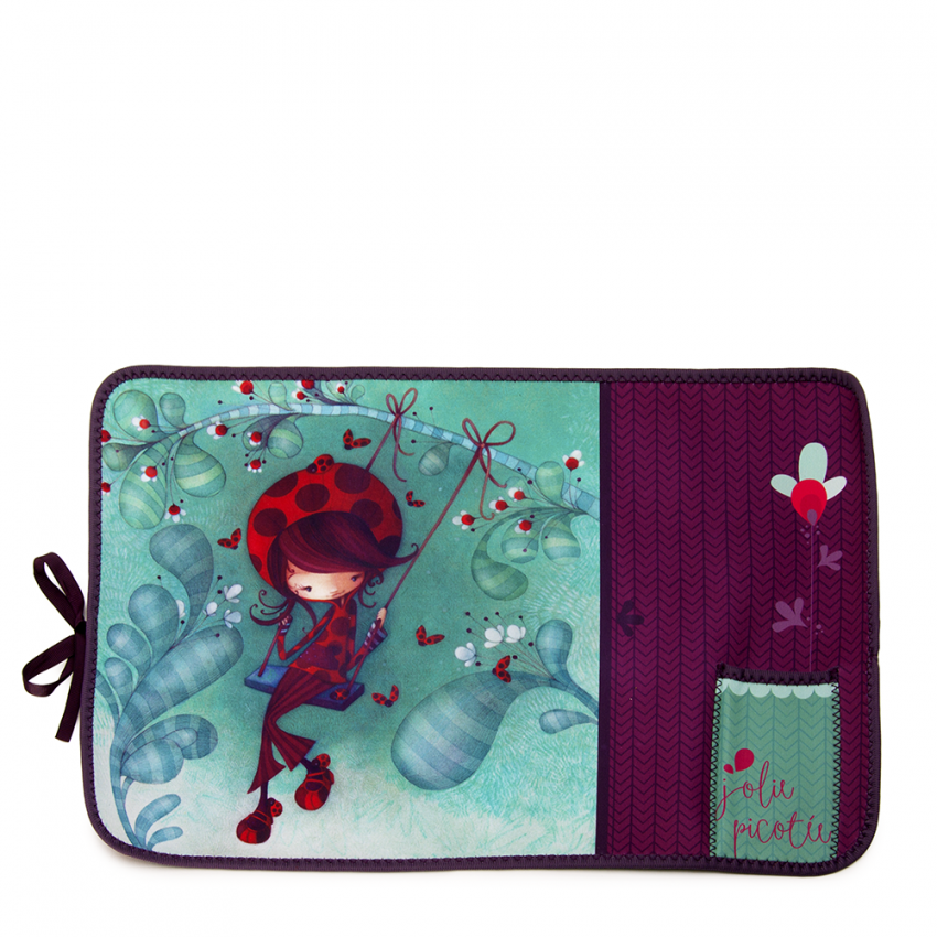 Fabric placemat Ladybug on a swing