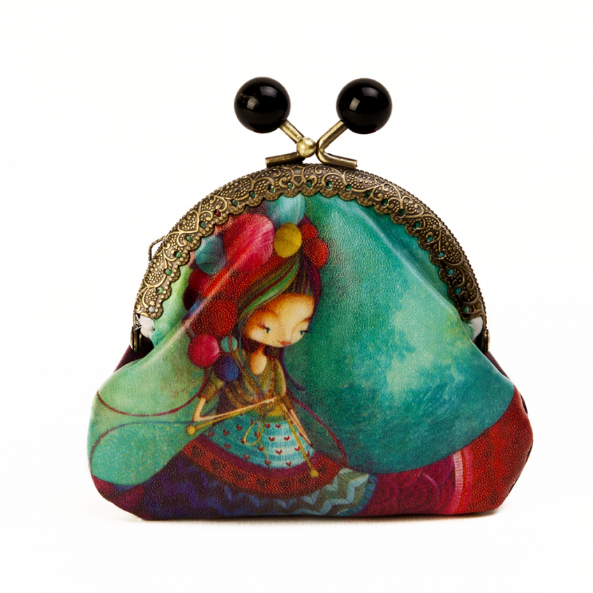 Coin purse Knitting lady