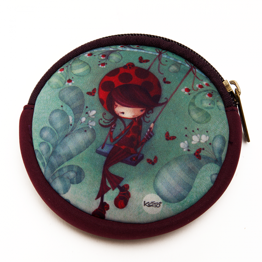 Round coin purse Ladybug on a swing