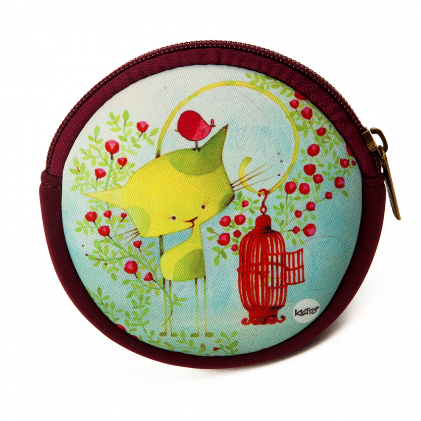 Round coin purse Kiwi the cat