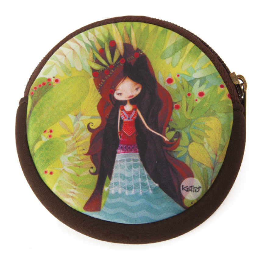 Round coin purse Wolf lady