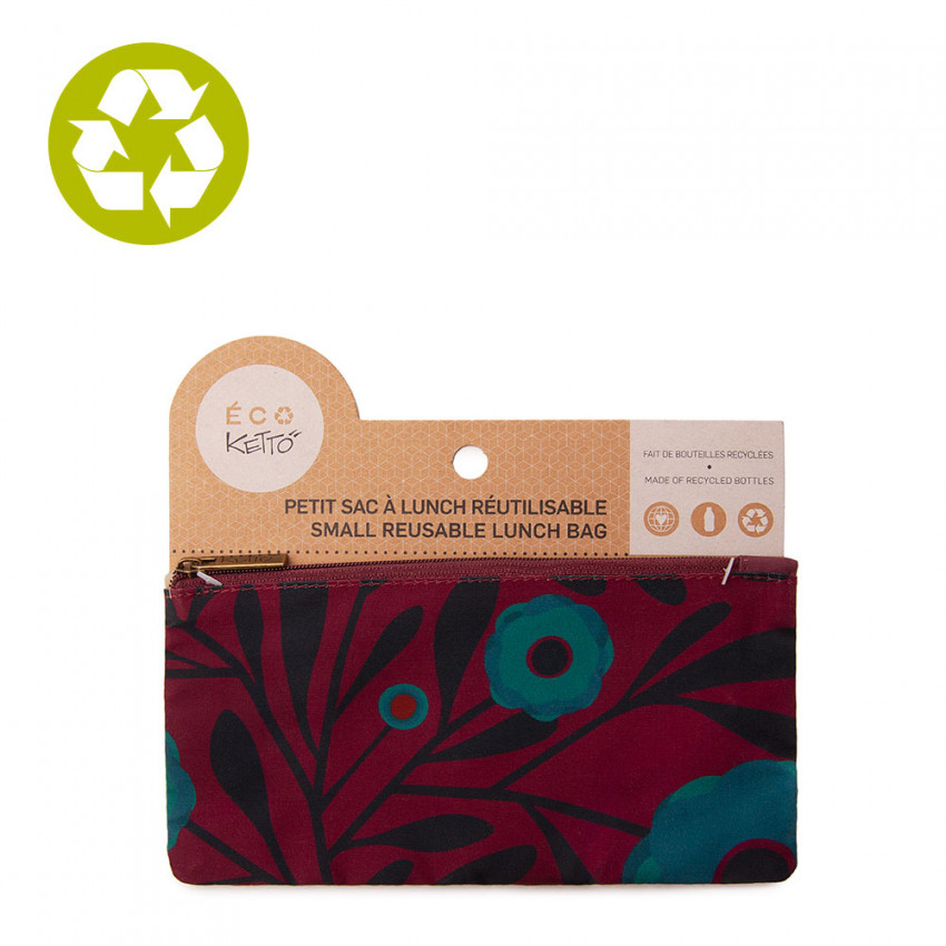 Small zero waste pouch Turquoise Poppy