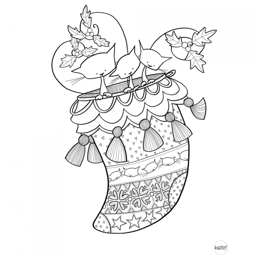 Coloring page | Christmas stocking