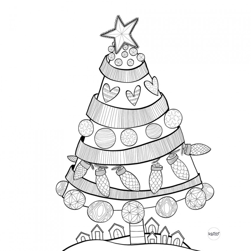 Coloring page | Christmas tree