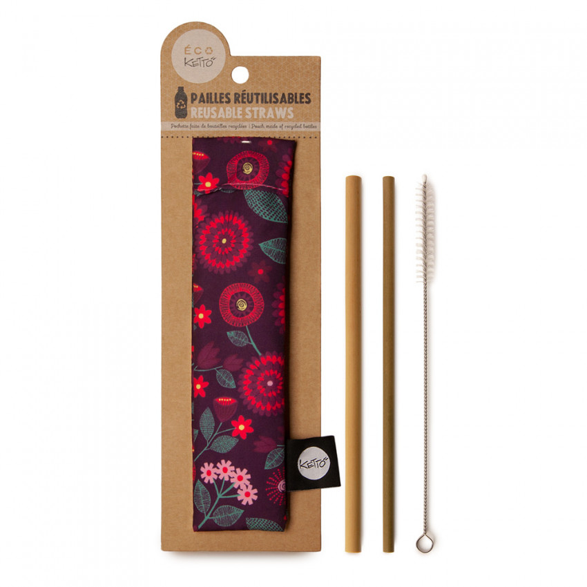 Zero waste | Reusable bamboo straws | Mother Nature pattern