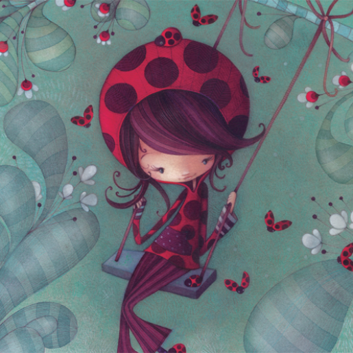 Card Ladybug on a swing