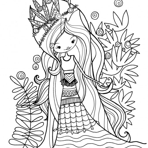 Coloring page | Wolf lady