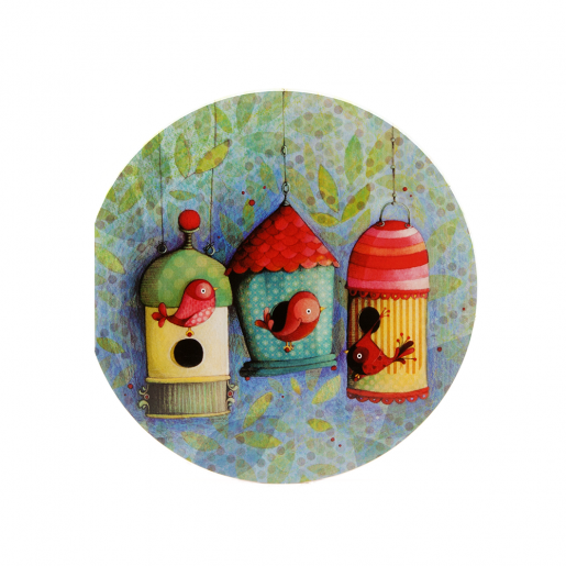 Round card Bird houses