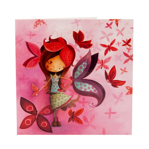Square card Butterfly girl