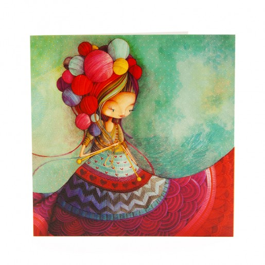 Square card Knitting lady