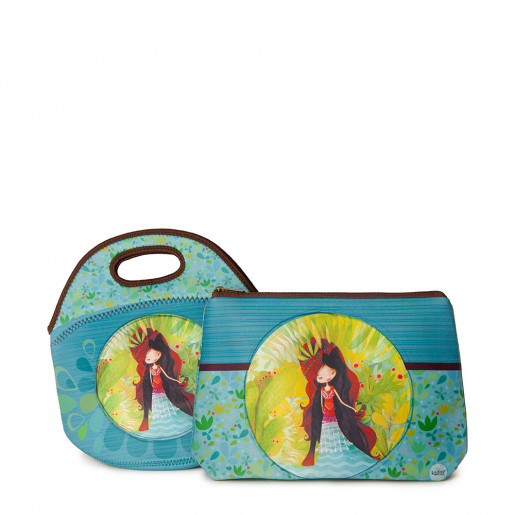 Duo Lunch bag Sweet & Large pouch | Wolf lady