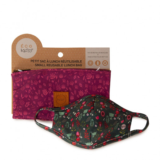 Duo Face mask and pouch | Blue flowery cat