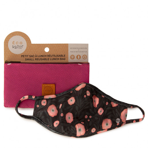 Duo Face mask and pouch | Pink poppy