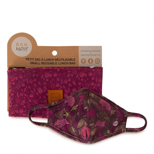 Duo Face mask and pouch | Flowers and greenery