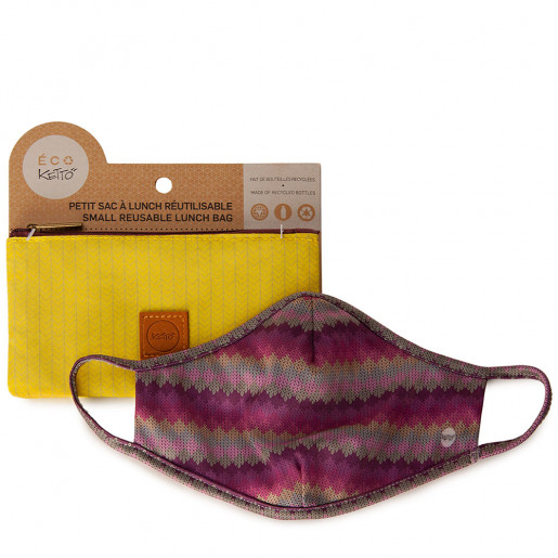 Duo Face mask and pouch | Knit multicoloured
