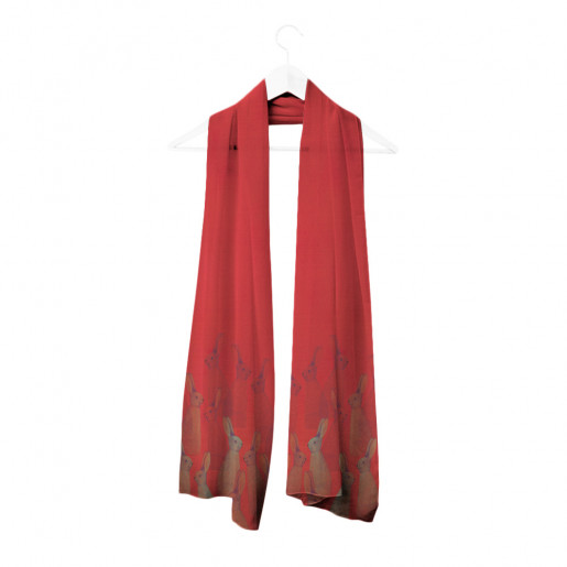 Scarf | Red rabbits