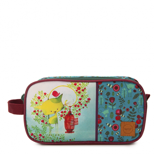 Double pencil case Kiwi the cat