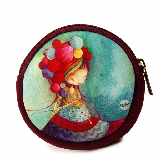 Round coin purse Knitting lady
