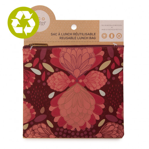 Medium zero waste pouch Burgundy Pompom
