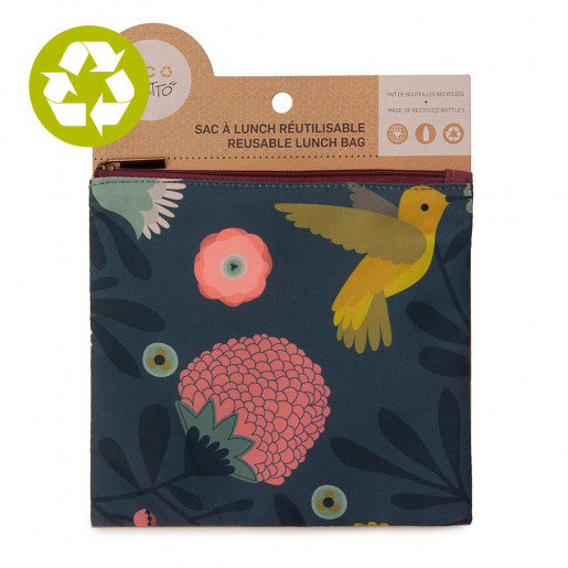 Medium zero waste pouch Pink Hummingbird