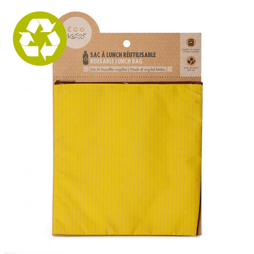 Large zero waste pouch Yellow Knit