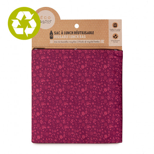 Large zero waste pouch Burgundy Wildflowers