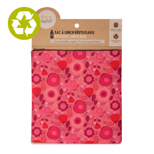 Large zero waste pouch Pink Flowers