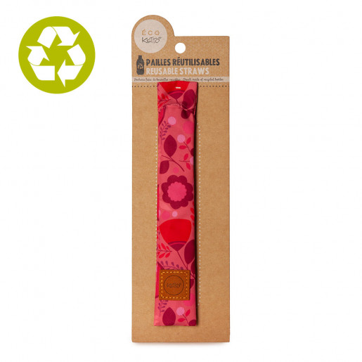 Reusable bamboo straws Pink Flowers