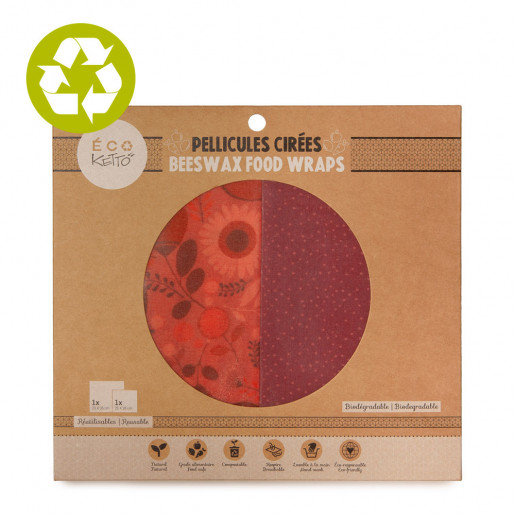 Beeswax food wraps duo Pink Flowers